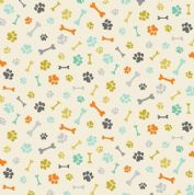 A Walk in The Park by Makower UK - 6463 - Scattered Bones and Paws on Cream - 2146_Q - Cotton Fabric